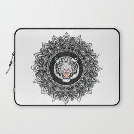 Roaring White Tiger Mandala Laptop Sleeve