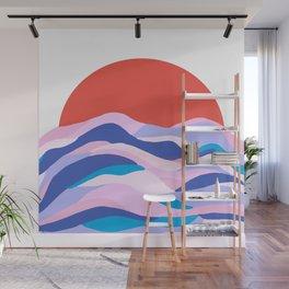 lucia, orange sunset ocean waves Wall Mural