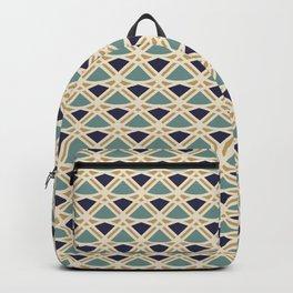 DECO - teal navy gold ivory diamond artdeco pattern Backpack