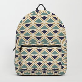DECO - teal navy gold ivory diamond artdeco pattern Backpack