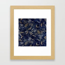 Indigo Jap Fabric Framed Art Print