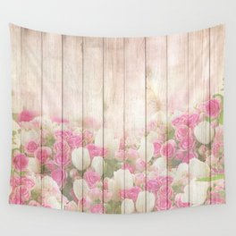 Beautiful Pink Tulip Floral Vintage Shabby Chic Wall Tapestry