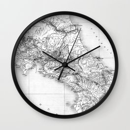 Vintage Map of Costa Rica (1903) BW Wall Clock