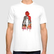 Black Widow Print White MEDIUM Mens Fitted Tee