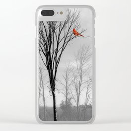 Red birds Cardinals Tree Fog A112 Clear iPhone Case