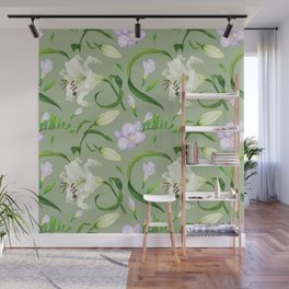 Tropical green seamless pattern with lily and freesia flowers Wall Mural