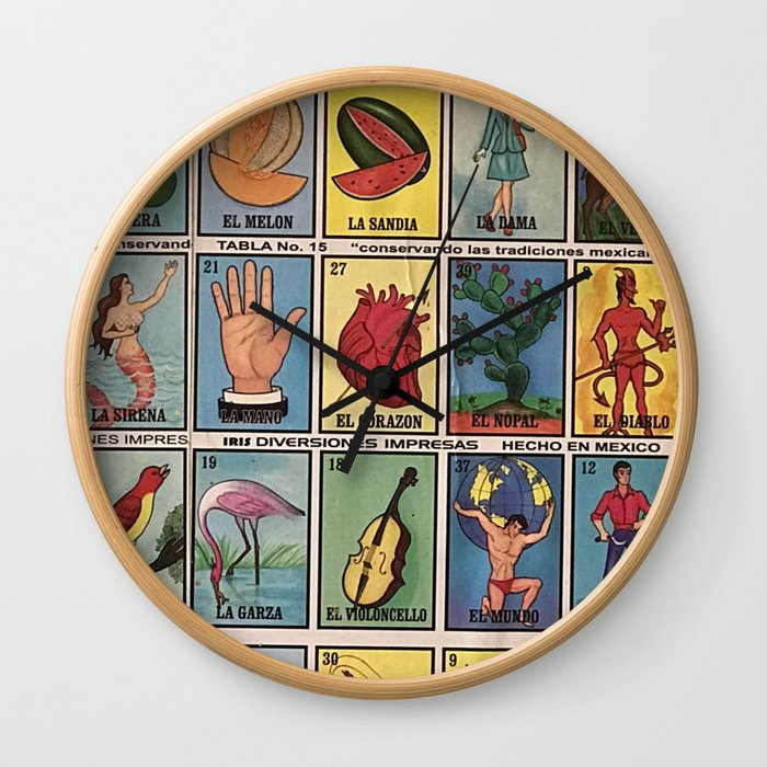 Mexican Bingo Loteria Wall Clock