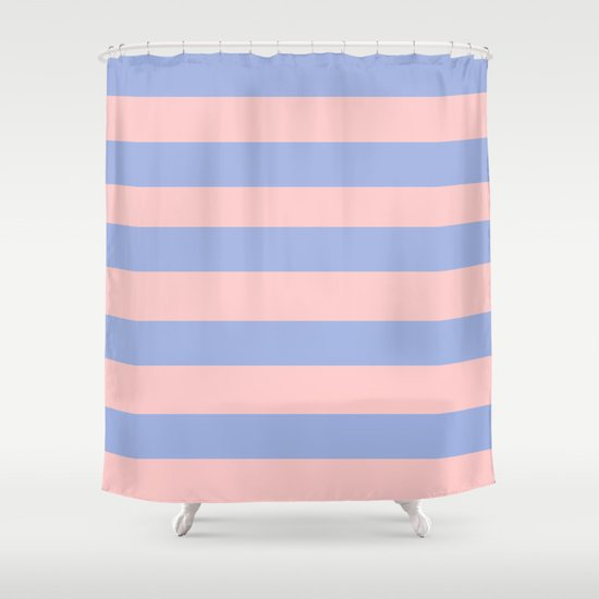 Light pink and blue stripes Shower Curtain
