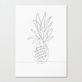One Line Pineapple Canvas Print
