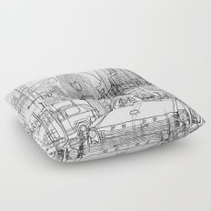 New York! B&W Floor Pillow