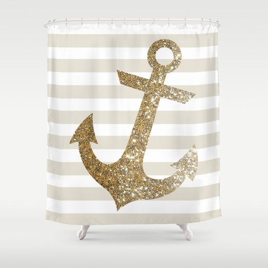 Glitter Anchor In Gold Shower Curtain By Colorstudio Society6