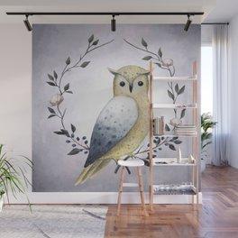 A Long Eared Owl On A Laurel Wall Mural
