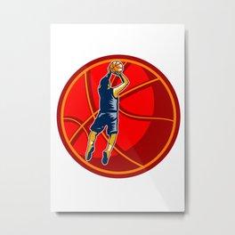 Basketball Player Jump Shot Ball Woodcut retro Metal Print