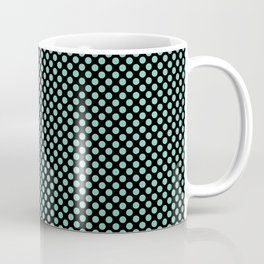 Black and Lucite Green Polka Dots Coffee Mug