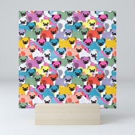 Colored Pugs Pattern - no1 Mini Art Print