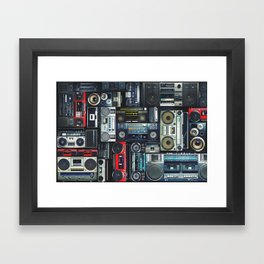 Vintage wall full of radio boombox of the 80s Framed Art Print