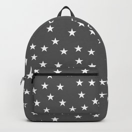 Dark grey background with white stars seamless pattern Backpack