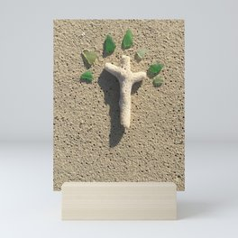 Cross in the Sand with Sea Glass Mini Art Print