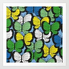 Green yellow blue butterflies Art Print