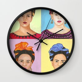 Frida Kahlo Inspired Colorful Pop Art Painting Wall Clock