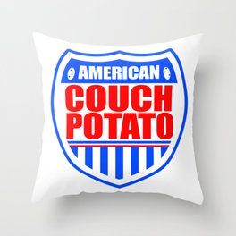 American Couch Potato Throw Pillow