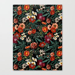 Marijuana and Floral Pattern Canvas Print