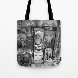 #BarbieLou with tomodachi b/w Tote Bag