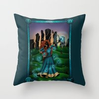 merida Throw Pillows featuring Silhouette Merida  by Katie Simpson a.k.a. Redhead-K