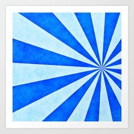 Blue sunburst Art Print