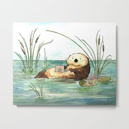 Otter on a Laptop Metal Print
