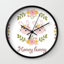 Honey bunny. Lesbian Rabbits couple Wall Clock