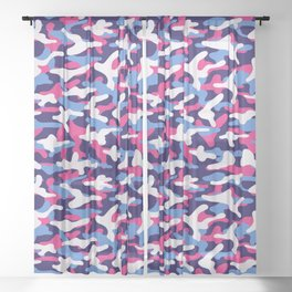 Pink and Blue Camouflage Sheer Curtain