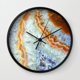 Crystalized Purple & Clear Quartz Slab with Orange Rust Wall Clock
