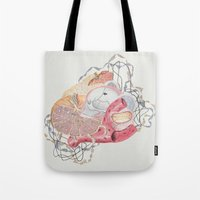 medical Tote Bags featuring Collage with Medical Illustration by Angela Barr