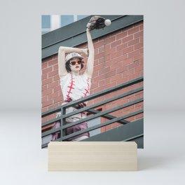 Brunette Baseball Fan Mini Art Print