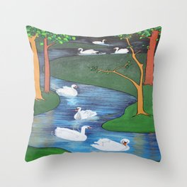 A Flock of Seven Swans-A-Swimming Throw Pillow