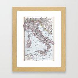 Vintage Map of Italy (1905) Framed Art Print