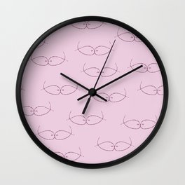 Seeing Pink Magenta Kissing Fish Wall Clock