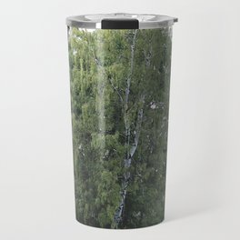 Large white birch on the shore of a reservoir with a dangling leaf crone Travel Mug