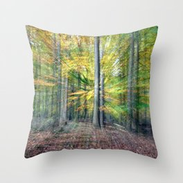 Abstract forest, intentionally blurred by zooming during exposure Throw Pillow