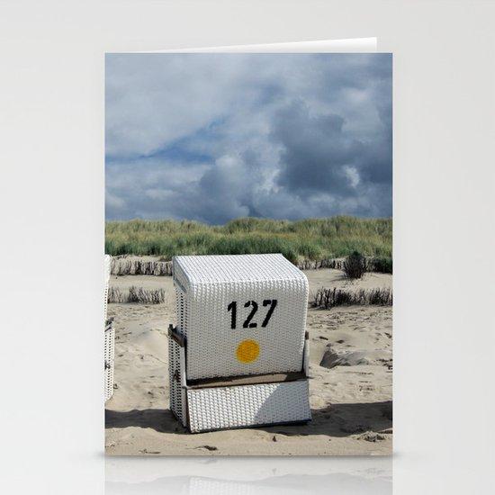 sandy beach chair Stationery Cards