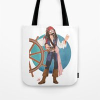 jack sparrow Tote Bags featuring Captain Jack Sparrow by Lili's Damn Fine Shop