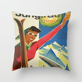 Vintage poster - Jungfrau, Switzerland Throw Pillow