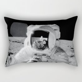 Apollo 12 - Face Of An Astronaut Moon Selfie Rectangular Pillow