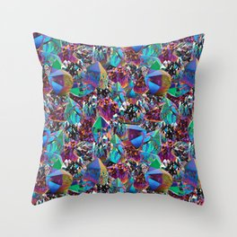 Oil Sick Rainbow Aura Crystals Throw Pillow