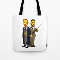 moriarty Tote Bags featuring Moriarty & Moran by San Fernandez