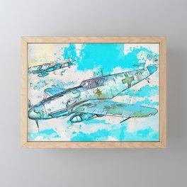 Messerschmitt Bf 109 WWII German Fighter Jet 2 watercolor by Ahmet Asar Framed Mini Art Print