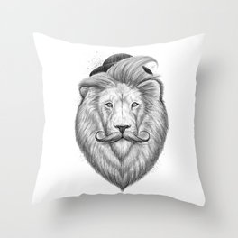 bearded lion Throw Pillow