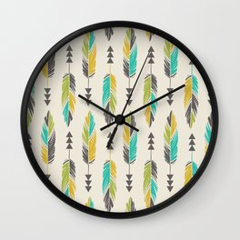 Painted Feathers in a Row-Cream Wall Clock