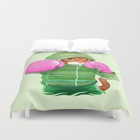 jazzberry Duvet Covers featuring BOXING CAT 4 by Tummeow